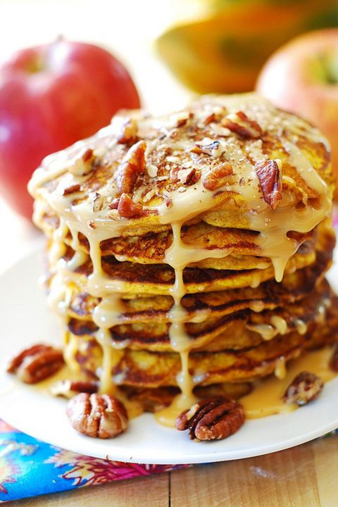 Pumpkin Pancakes with Caramel Pecan Sauce: As if pumpkin pancakes could get any more tasty, this recipe features a caramel pecan sauce instead of maple syrup. Click through to find more easy and scrumptious pumpkin pancakes to try this fall.