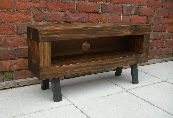 Solid wood chunky slim tv unit enclosed back with cable tidy the base has box metal legs which have been left showing the welds for the industrial chic look. Beautiful industrial style furniture. This is a lovely chunky solid wood stand.   eBay!