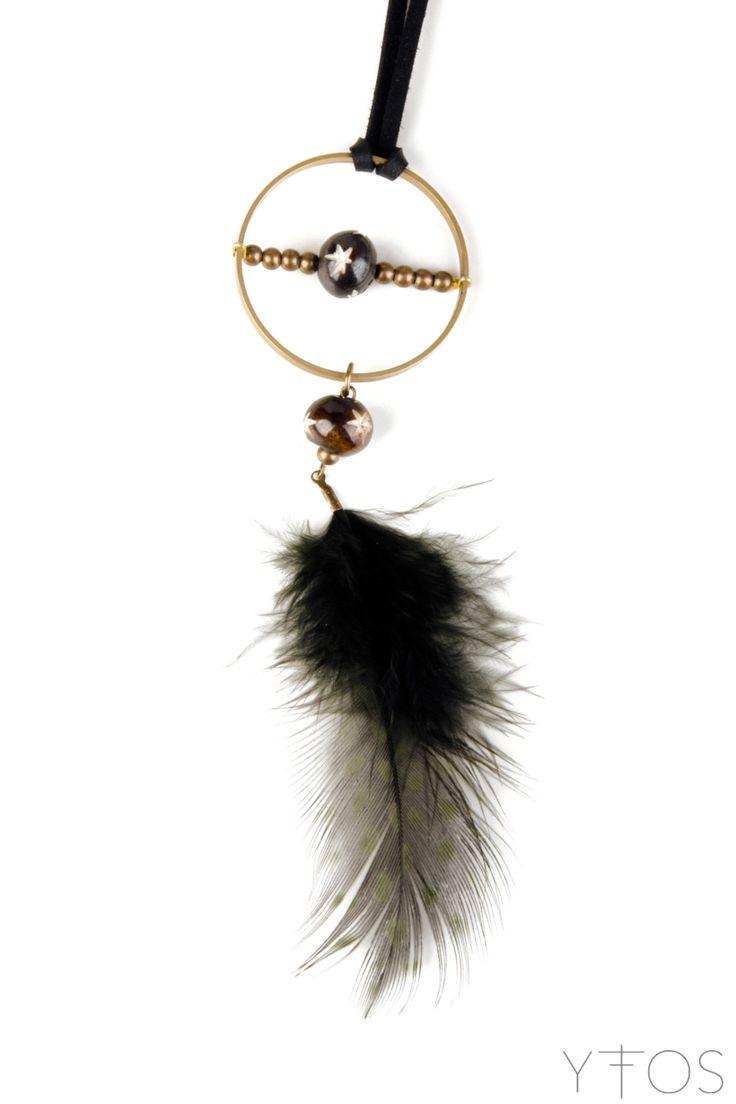 'Feather' Black & Gold Pendant