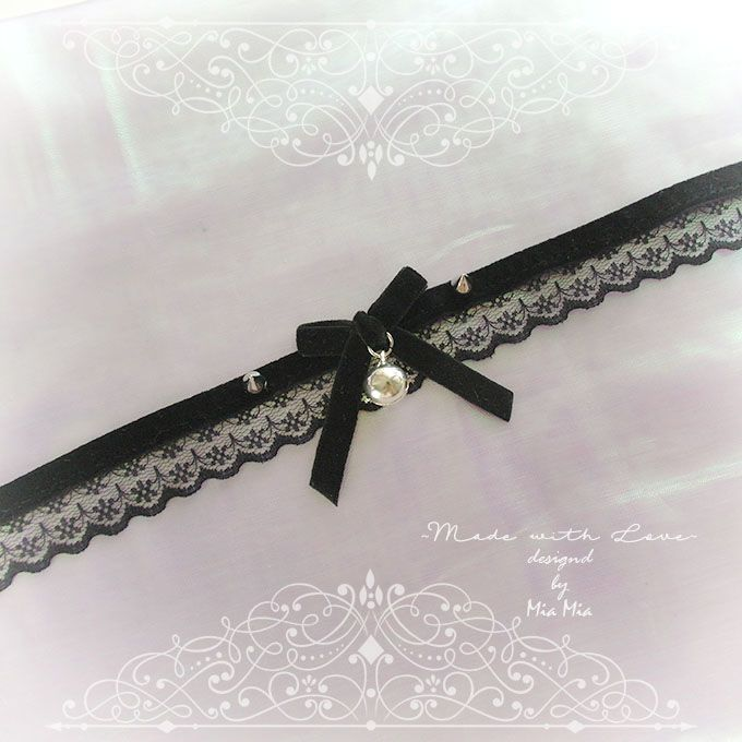 66435d3ec4c2d Kitten Pet Cat Collar Choker Necklace Black Lace Velvet Bow Spikes ...