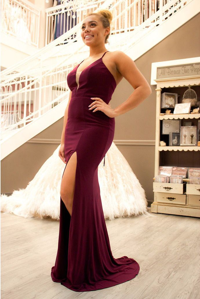 78e594ccf5b0 Sexy Plunging V Neck Formal Evening Gown Fitted Long Slit Party Dress With Cut  Out Back