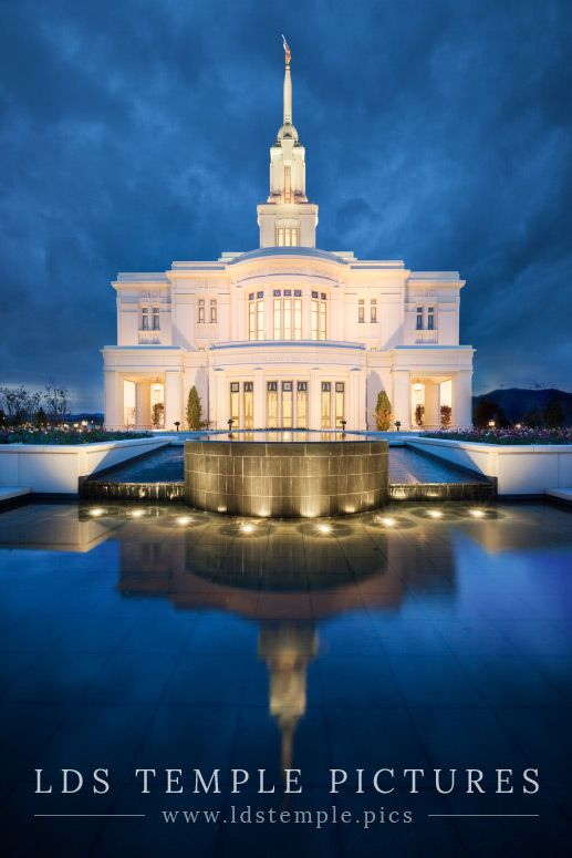 Payson Temple Reflecting Pool Twilight | LDS Temple Pics