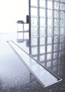 Sprchový žlab ze skla