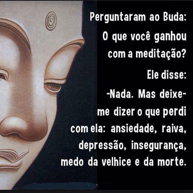 Perguntaram ao Buda: O que você ganhou com a meditação. ele disse. - Nada. Mas deixe me dizer o que perdi com ela: ansiedade, raiva, depressão, insegurança , medo da velhice e da morte.