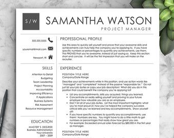 professional resume template for word 1 2 by landeddesignstudio - Word Professional Resume Template
