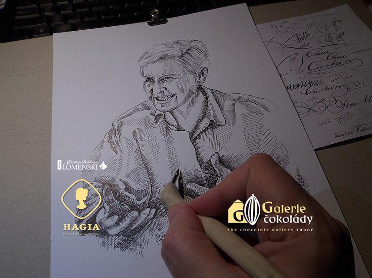 Portrét paní profesorky Hogenové, kresba tuší