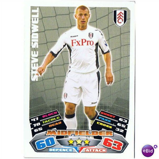 Match Attax 2011/2012 ~ Fulham F.C. ~ Steve Sidwell ~ Midfielder Listing in the Topps Cards,Sports Cards & Stickers,Sport Memorabilia & Cards Category on eBid United Kingdom