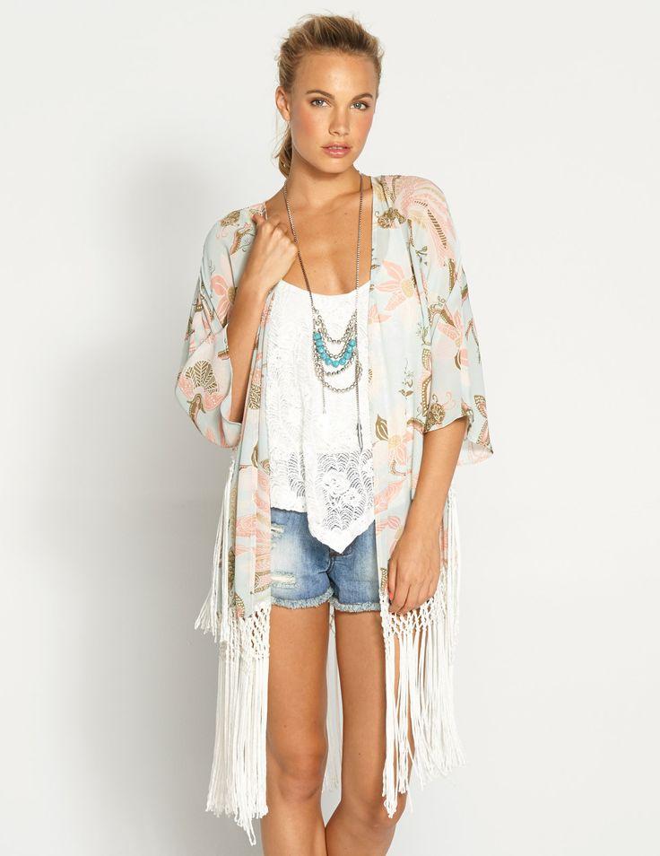 Daisy Dukes Jean Shorts Cut-Offs| Serafini Amelia| kimono and jean shorts outfit | Back New Arrivals New Clothing Pastel Long Kimono