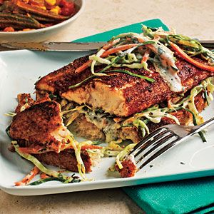Open-Faced Blackened Catfish Sandwiches | MyRecipes.com ~ This Cajun-inspired catfish sandwich is served open faced and topped with a creamy slaw packed with fresh cilantro.