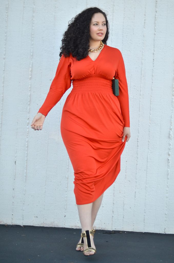 Beautiful burnt orange dress. #CurvyDresses