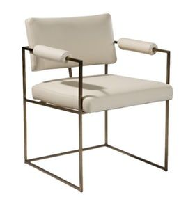 Beckett Dining Chair MidCentury Modern, Metal, Leather, Upholstery Fabric, Dining Chair by Room