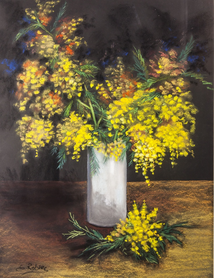 // Pilar S. Robles. Mimosas. Pastel. 76x61.