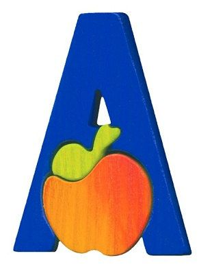 Montessori - Waldorf wooden puzzle letter A, made by hand of maple wood,no harmful colors and no lacquer on Etsy, $6.00