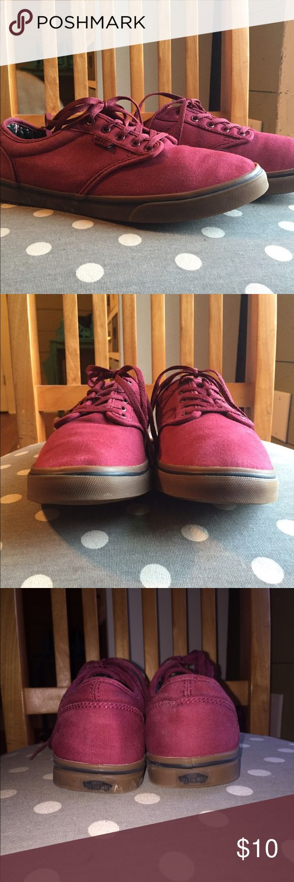 Low Pro Skate Vans Maroon Vans w/ Rose Pattern Inside. Gently worn. Vans Shoes Sneakers