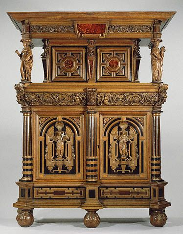 Early 17th century Belgian (Flemish) Display cabinet at the J. Paul Getty Museum, Los Angeles - Cabinets such as this one were used to display various curios and objets d'arts.