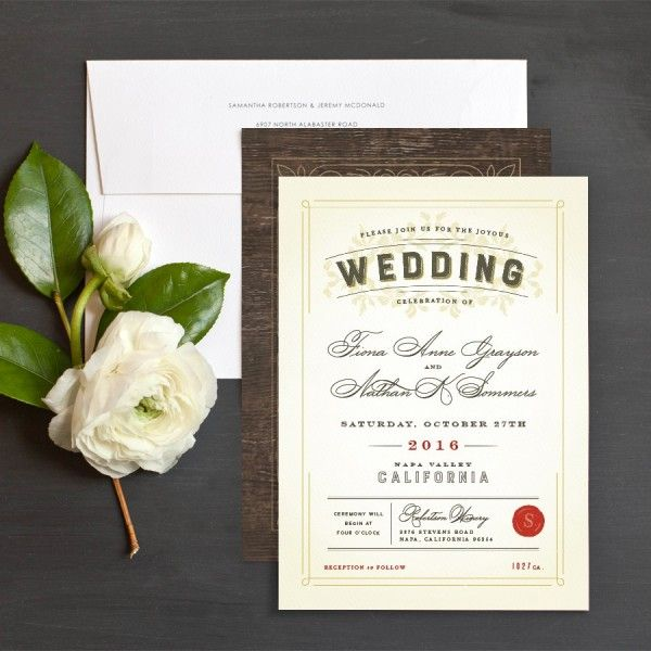 Vintage Winery Wedding Invitations by Jennie | Elli