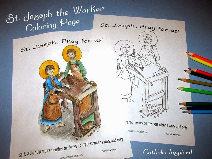 St. Joseph the Worker Coloring Page (May 1)