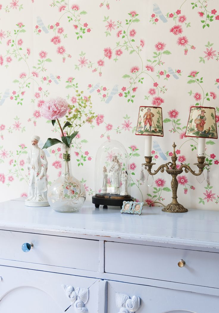 Bird Branches Wallpaper reference 2000114. Cute little birds are perched amongst this beautiful trailing floral design in fresh colours on a white background. A pretty design that any little girl would adore. #Paper Moon #Wallpaper #Coordonne #Room Seven