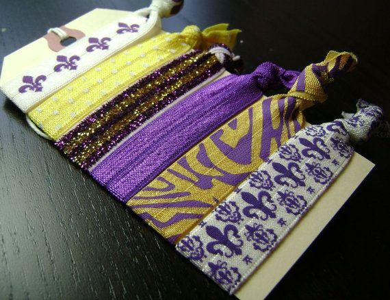 LSU Tigers Purple and Gold Hair Tie Set ... by designstudio504, $11.00