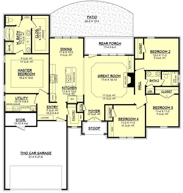Ranch Style House Plan - 4 Beds 2 Baths 1875 Sq/Ft Plan #430-87 Main Floor Plan - Houseplans.com: