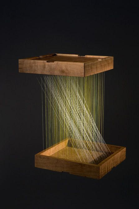 """Maggie Casey Model: Hanging Angle THREAD, COPPER TACKS, WOOD, 18"""" x 18' x 30"""" 2007"""