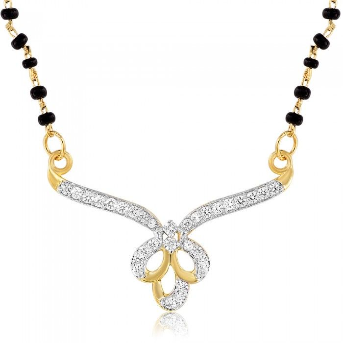 Beautiful Diamond Mangalsutra Pendant   High5Store.com