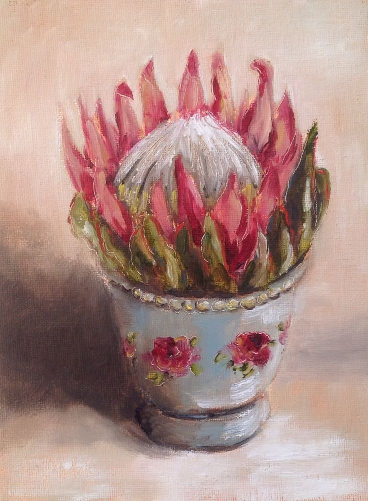 Paintings in the Post: Protea in a turquoise pot #90
