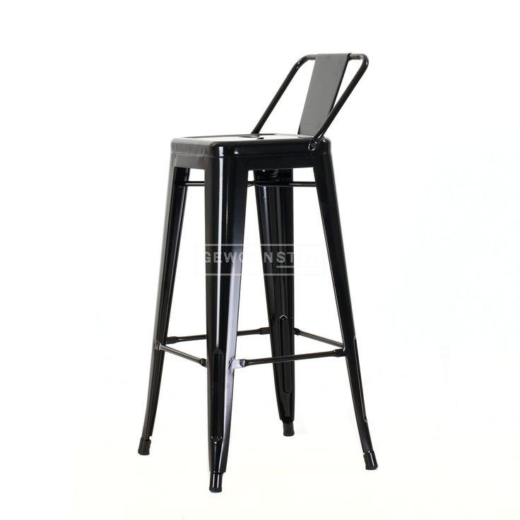65 Legend | Café kruk met rugleuning | Metalen barkrukken | Tolix style Café kruk |Industrieel design Xavier Pauchard | Wit