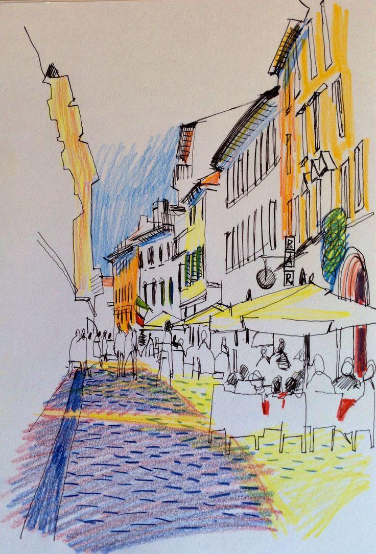 Via Stella, Verona, Italy 2014 Coloured pencil and pen - © E Gaskell