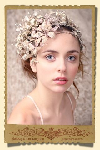 Bridal headpiece by Dublin based Stacey Hannan.  Her work has an organic feel, drawing inspiration from nature and combining this with elements from classical Greece, Victorian England, right through to modern day.