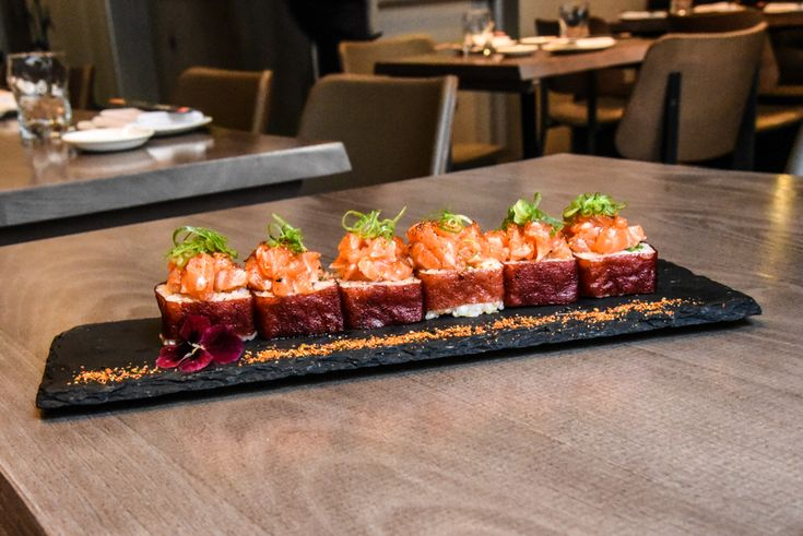 The Sandi Maki – salmon tartare and tempura prawn roll.