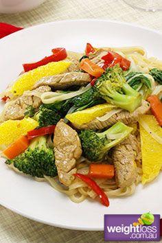 Chinese Orange Pork Stir Fry. #HealthyRecipes #StirFryRecipes #WeightLoss #WeightlossRecipes weightloss.com.au