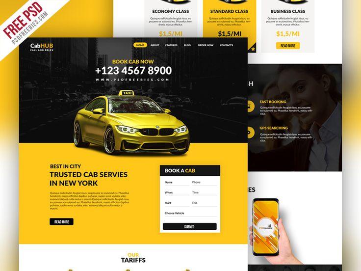 Free Psd Taxi Cab Service Company Website Template Website Template Taxi Cab Taxi