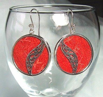 925-Sterling-Silver-Pierced-Earrings-w-Red-Sponge-Coral-12-1-grams-1-3-4