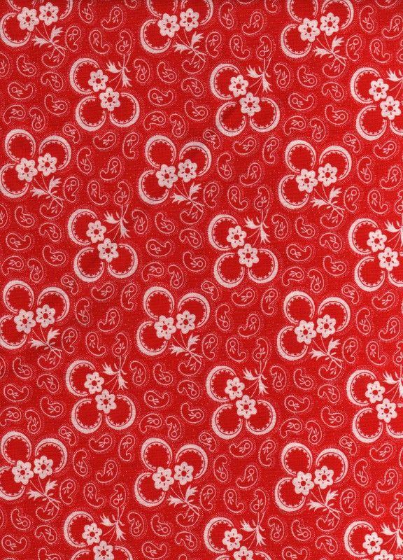 Hollandse quiltstof klavertje drie rood-wit