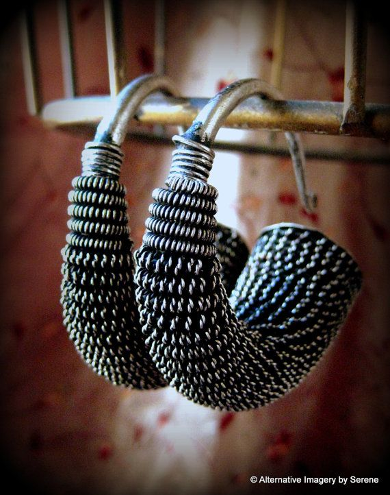 "Large Vintage Handcrafted Tribal Organic Miao Silver Earrings for Gauged Piercings High Silver Content UNPOLISHED  Details: As you can see from the photos these are NOT ""dainty"" earrings and are made for gauged piercings. They can also be worn as ear plugs or easily transformed into ""standard"" earrings with the simple addition of a jump ring and wires.  by TemplesTreasureTrove, $189.95"