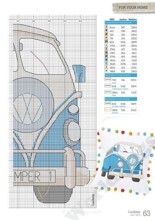 vw bus cross stitch pillow: