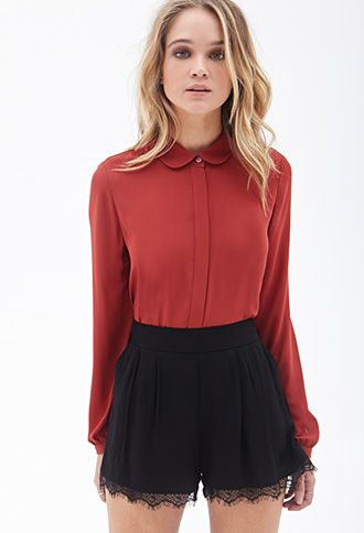 Peter Pan Collar Blouse | FOREVER21 -  very simple yet elegant ☺️