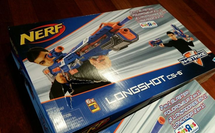 NERF Longshot CS-6 Blaster N-Strike Blue w/ Scope Brand New Sealed (Damaged Box)
