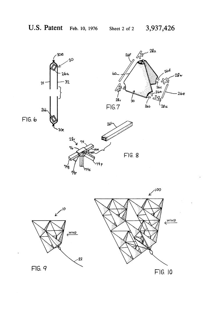 Patent US3937426 - Tetrahedral kite structure - Google Patents