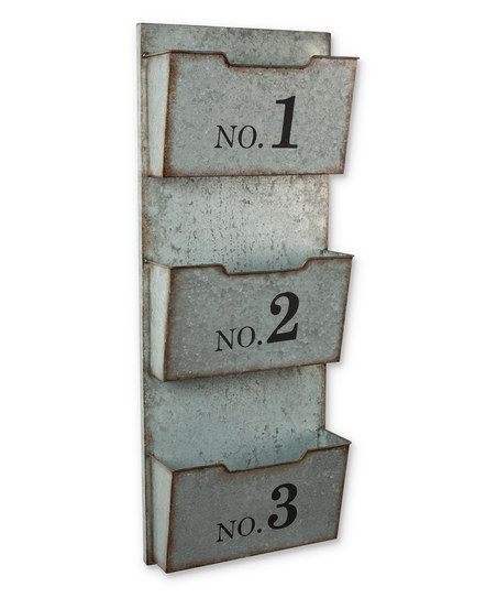 Three Pocket Numbered Galvanized Metal Wall Organizer