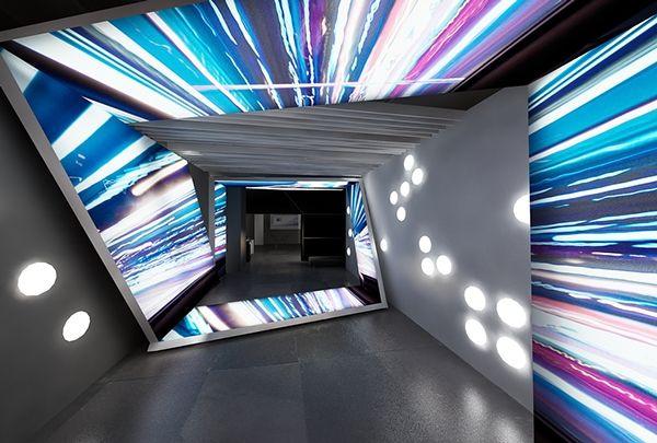 """Hyperdrive lighting showroom entrance- Lets make it social media interactive"" TriadCreativeGroup.com"