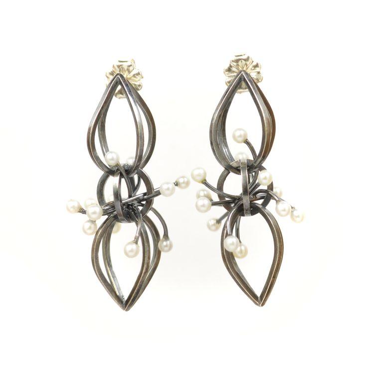 Orbit Earrings by Gina Pankowski in Sterling Silver, Dark Patina, White Pearls