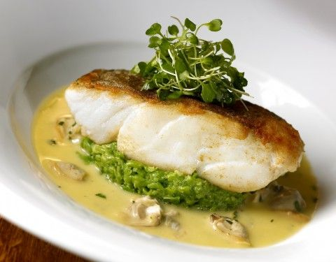 Cod, crushed peas, mussels and borage from the Hinds Head. No ordinary fish and chip for Heston