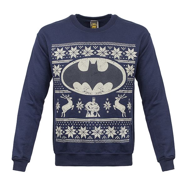 Officially-licensed Batman merchandise Warm sweater with a printed design Design features Batman, the Bat Symbol, two reindeer, and other festive decorations Rich navy blue sweater features a distressed design An exact replica of the sweater Alfred gives Bruce Wayne every year for Christmas It's true. Each year Alfred gives Bruce Wayne the very same sweater …