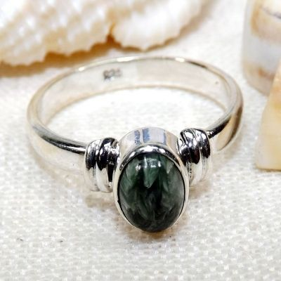 Seraphinite Stone Ring, Seraphinite Stone, Gemstone Silver Ring, Dailywear Ring, Gift For Her