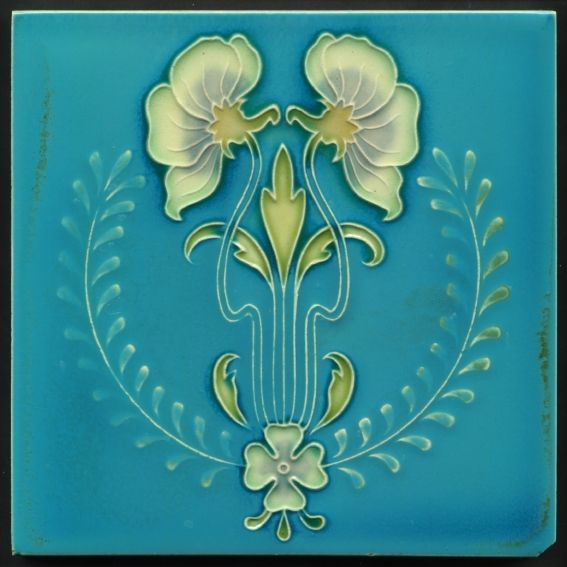TH2994 Unusual Art Nouveau Majolica Tile Gibbons Hinton Stourbridge c.1910 #ArtNouveau