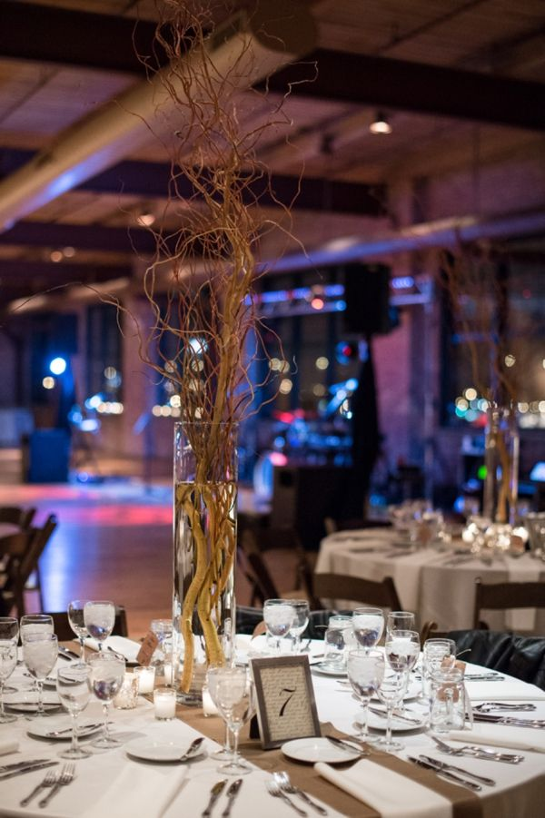 tall centerpiece branches mixed on the outskirts of the room... love! // image: Ben Elsass Photography