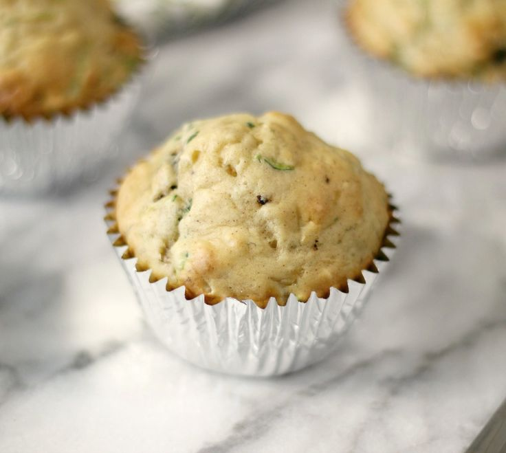 Banana Zucchini Chocolate Chip Muffins - A light, moist, sweet, no fat added muffin, chock full of zucchini and chocolate chips.