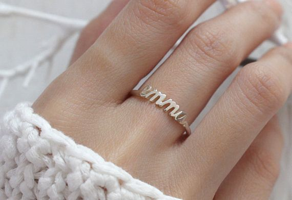 30% OFF -- Stackable Name Ring - Personalized Children Name Ring - Customized Name Jewelry - Bridesmaid Gifts - New Mom Gift